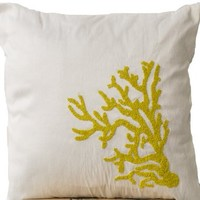 Amore Beaute White Decorative Throw Pillow Covers with Yellow Coral Reef Embroidery- Sequin Pillow Covers- Couch Pillows- Sofa Pillows- Nautical Throw Pillow Covers- White Cushion with Detailed Hand Embroidery- Handmade Pillows- Throw Pillow Covers- Hand E