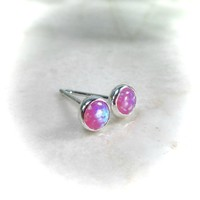 Stud Earrings Sterling Silver 09 Fire Opal