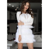 Naomi Feather Mini Dress in white