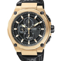 Citizen CA0313-07E Men's Eco-Drive Rose Gold Chronograph Leather Strap Watch