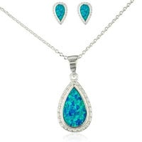 Real 925 Sterling Silver Blue Created Opal Teardrop Necklace with Matching Stud Earrings Jewelry Set