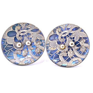 mother of pearl button studs, button earrings, button jewellery, lace shell studs, lace jewellery