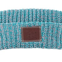 Teal and Salmon Leather Patched Cuffed Beanie - Love Your Melon