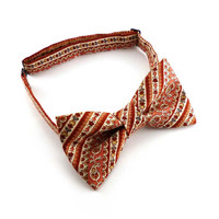 Pre tied paisley bow tie – pink peach coral and cream striped cotton – adjustable bowtie - mens bow tie