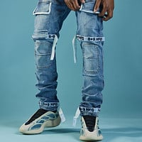 Strapped Up Slim Utility Medium Washed Jeans White