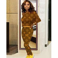 Louis Vuitton LV Newest Fashion Women Print Long Sleeve Sweater Pants Trousers Set Two-Piece Coffee