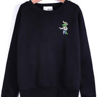 Black Long Sleeve Cartoon Crocodile Print Sweatshirt - Sheinside.com