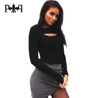 Long Sleeve T Shirt Women Open Chest Basic T Shirts Ribbed Knitted O-Neck Hollow Out Sexy Club Party Wear Tee Shirt Femme