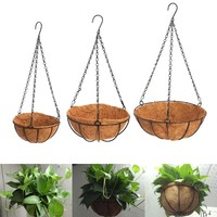 Hanging Coconut Vegetable Flower Pot Basket Liners Planter Garden Decor Iron Art