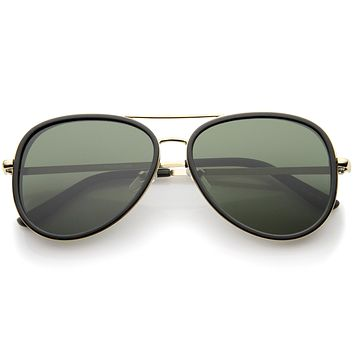 European Retro Two Tone Flat Lens Aviator Sunglasses A234