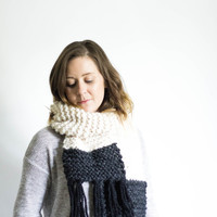 Oversized Knit Ombre Scarf With Fringe | THE SENECA | Fisherman, Charcoal, Black