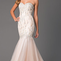 Strapless Sweetheart Floor Length Lace Dress