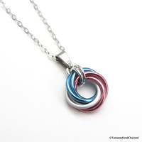 Transgender pride chainmaille love knot pendant; pink, white, light blue