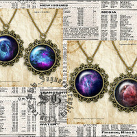 Blue - Purple Nebulas Outer Space - Digital Collage Sheets - 1.0 inch Circles for Pendants, Earrings, Jewelry Supplies, Arts & Crafts