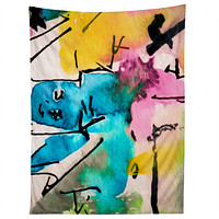 Ginette Fine Art Blue Man Abstract Expressive Tapestry