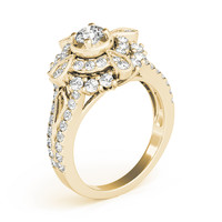 European Engagement Ring - Diamond Compass Double Halo Ring in Yellow Gold - ER337YG