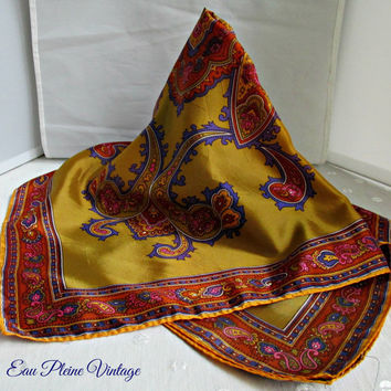 Hand Screen Print Paisley Gold Blue Colored Vintage Acetate Head Scarf