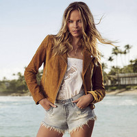 Genuine Suede Moto Jacket from EXPRESS