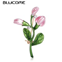 Blucome Exquisite Pink Tulip Flower Shape Brooch Crystal Enamel Brooches For Women Girls Banquet Dress Suit Collar Pins Jewelry