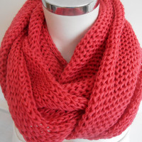Coral Color Women Scarf, Neck Warmer, Valentine's Day, Knitted Scarf Infinity Scarf, Women Scarf Coral Color, Loop Scarf, Gift Ideas, Unisex