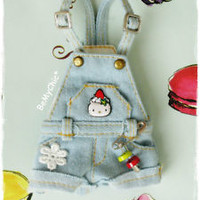 Awesome Blythe Dress Outfit Washed Denim Shorts Overall - Hello Kitty