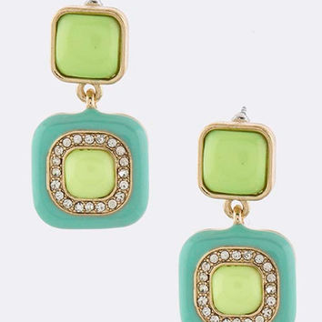 Minty-Lime Squares Earrings