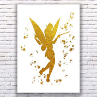 Tinkerbell Gold Art Print Instant Download Printable White Edition