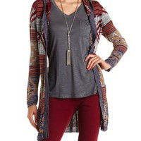 Hooded Aztec Duster Cardigan Sweater by Charlotte Russe - Navy Combo