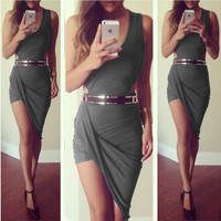 summer dress 2015 new asymmetrical Dress sexy party elegant bandage casual mini short sleeveless red black grey white prom evening Cocktail bodycon nightclub Dress = 1945851716