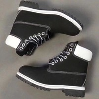 Timberland Rhubarb boots for men and women shoes waterproof Martin boots lovers Black - white