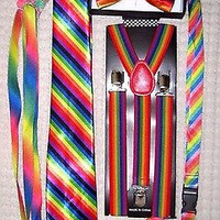 Men's Rainbow Stripes Adjustable Bow tie,Neck Tie,Suspenders,Lanyard,Shoelaces15