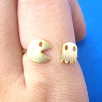 Namco Pac-Man Arcade Themed Adjustable Ring in Gold | DOTOLY