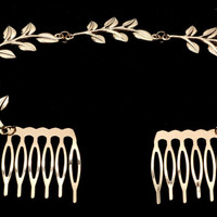 Leaf bobby pins, gold hair combs,  wedding jewelry, gift for bridesmaid.