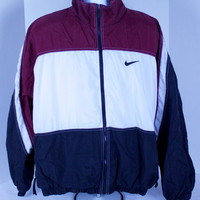 90s Nike Mens Red White Black Nylon Windbreaker Jacket Size XL A&M Aggies