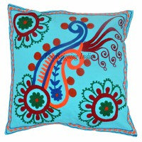 """16"""" Suzani Cushion Cover Floral Indian Hand Embroidered Pillow Case Throw 4024"""