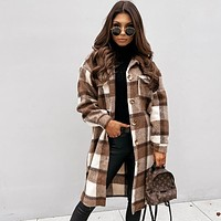 Fashion women's long sleeve plaid printed medium and long woolen coat