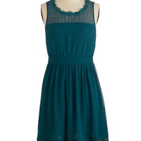 ModCloth Mid-length Sleeveless A-line Belle Me a Story Dress in Jade