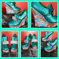 Disney Princess Wedge shoes Little Mermaid Belle Snow white Glitter Girly Prom Wedding Party Unique Bespoke Have Anything