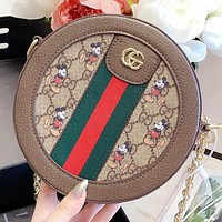 Hipgirls GUCCI & Disney New fashion more letter mouse print round shoulder bag crossbody bag