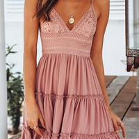 Pink Patchwork Lace Ruffle Spaghetti Strap Bow Deep V-neck Graduated Homecoming Party Mini Dress