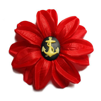 Red Summer flower with anchor hair clip