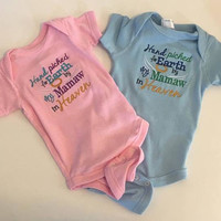 Hand Picked For Earth Bodysuit By My Pawpaw, Grandma, Uncle In Heaven Bodysuit - Hand Picked Shirt - Baby Girl Gift Toddler Girl Shirt