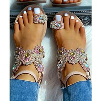 Women Crystal Fashion Flat Sandals