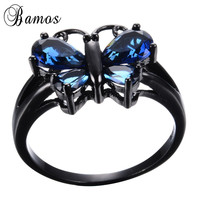 Bamos Women Lady Blue Zircon Butterfly Shape Ring Black Gold Filled Wedding Party Engagement Cocktail Ring Love Gift RB1250