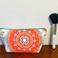 Red, Blue, Yellow and Green Print Small Travel Makeup/Cosmetics/Toiletries/Vape Pen Bag/Pouch/Holder with Sea Green Zipper
