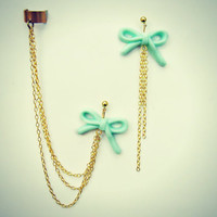 ear cuff with mint green bow earrings, chains ear cuff, ear cuff with chains, long earrings, dangle earrings