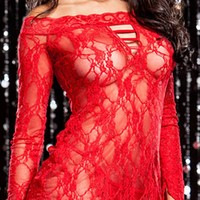 Hot Deal Cute On Sale Sexy Hollow Out Lace Patchwork Red Long Sleeve Ladies Sleepwear Exotic Lingerie [6596412739]