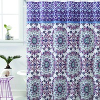 "Royal Bath Plum Mandala Burst PEVA Non-Toxic Fabric Shower Curtain - 72"" x 72"""