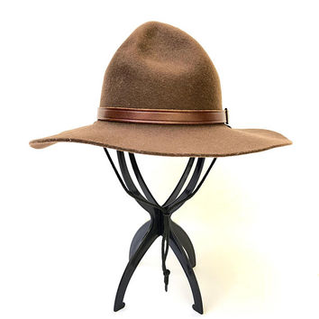 Vintage 1980s 'Bardsley' chocolate brown, wool felt scout hat with dimpled domed crown and leather band / Made in Australia