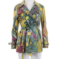 "Shiny Vinyl Raincoat Abstract Print Belted Slicker 1990's Clothing Women's Size Small "" Bust / Purple Yellow Gray Green Art to Wear Jacket"